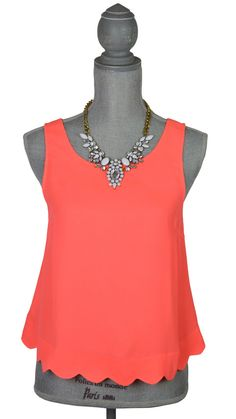 Scallop-Back Neon Coral top | Hot Pink Hanger