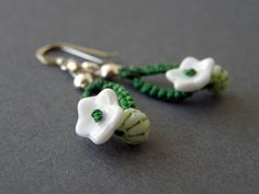 sprout earrings - green and white.