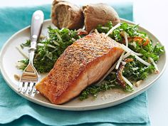 Pan-Seared Salmon with Kale and Apple Salad #myplate #letsmove #protein #grains #veggies #fruit
