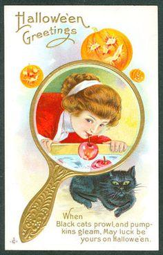 Vintage Embossed Stecher Halloween Postcard Lady In Gold Mirror Bobbing Apples | eBay
