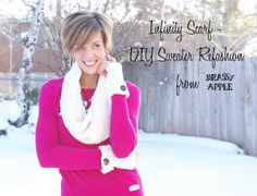 Brassy Apple: DIY infinity scarf - sweater refashion
