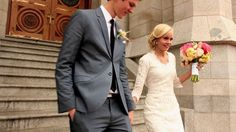 This is such a cute couple!! LOVE her dress