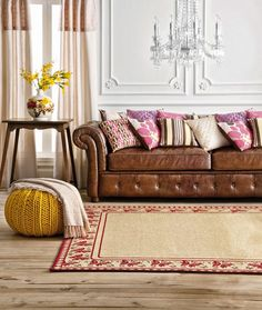 Tan leather sofas - nuff said! on Pinterest