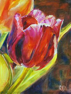 Flower painting tulip red  6 x 8 original oil by Carol by cdemum, $65.00
