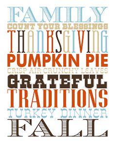 Thanksgiving Fall subway art printable