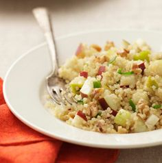 Why not make a salad with pears? Apples shouldn't have all of the fun! Pear-Quinoa Salad is a fabulous meatless main-dish salad option perfect for your vegan friends, just use vegetable broth.
