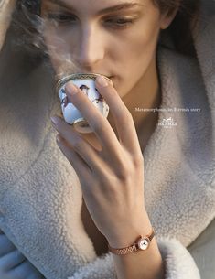 """Metamorphosis, an Hermes Story. """"Faubourg"""" watch in rose gold set with diamonds. Hermès 2014 autumn-winter campaign. #hermes"""