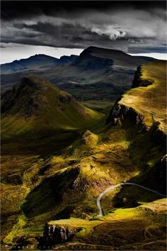 """Trotternish Ridge, Isle of Skye, Scotland """"My heart's in the Highlands, my heart is not here;  My heart's in the Highlands a-chasing the deer;  A-chasing the wild-deer, and following the roe,  My heart's in the Highlands wherever I go."""" - Robert Burns"""