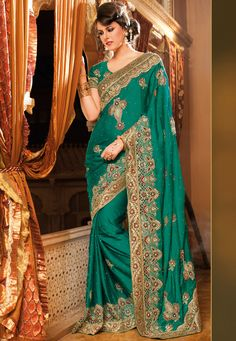 Teal Green Faux Satin Chiffon #Saree with Blouse @ $271.78