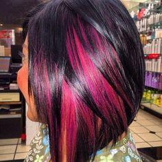Pink,orange,black hair color with a bob!