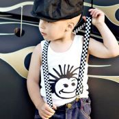 For little dudes and groms come these checkerboard suspenders with attitude! From Knuckleheads. Black and white checkerboard elastic suspenders. Adjustable to fit ages 4 - youth. $23.95