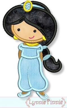 Embroidery Designs - Cutie Princess as Jasmine Applique 4x4 5x7 6x10 - Welcome to Lynnie Pinnie.com! Instant download and free applique machine embroidery designs in PES, HUS, JEF, DST, EXP, VIP, XXX AND ART formats.