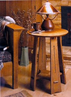 idea to put beside mission chair Craftsman Round Table. $875.00, via Etsy.
