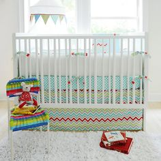 Cute and colorful crib bedding for a boy or girl's nursery!