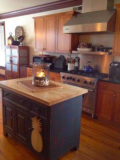 cupboard, big pineappl, candl, primit kitchen, island
