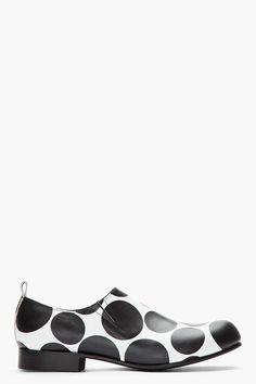 COMME DES GARÇONS HOMME PLUS Black & White Polka Dot Leather Steer Shoes