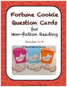 Fortune Cookie Question Cards for Non-fiction Reading