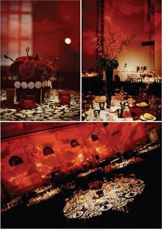 """Hollywood Glam Wedding Featuring Round and Square Table with Alternating Red Velvet and Black/white Patterned Linens.  Black Chiavari Chairs, Red """"Fabric"""" Lighting and Black/White Dance Floor"""