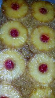*Pineapple Upside Down Cake Recipe.....this is so good!  Two tips....we used the pineapple juice left over from the can of pineapple slices as a substitute for the water in the cake mix. Made the cake sweeter.  Also only cooked the cake as long as the Cake box recommends.