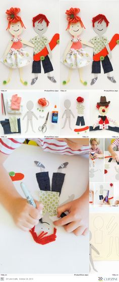 Children DIY, handmade paper doll tutorial