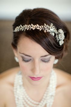#Hairband   Robert & Kathleen Photographers   See the inspiration on SMP -  http://www.StyleMePretty.com/little-black-book-blog/2013/05/10/great-gatsby-wedding-inspiration-from-robert-kathleen-photographers/ headband, headpiec, wedding styles, weddings, hair accessori, pink lips, wedding hairs, hairstyl, vintage inspired