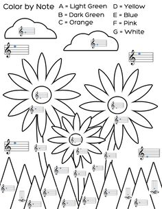 note flower, worksheet, teach piano, color by note