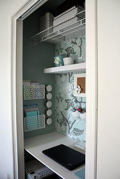 closet office - I like wall paper idea.
