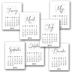 2014 Printable Calendar Cards