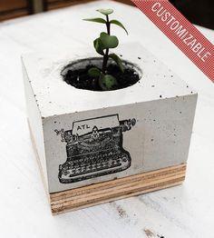 wood planter, typewrit concret, reclaim wood, interiors, beton, cubes, concret planter, planters, typewriters