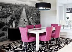 A splash of color in a black and white diningroom