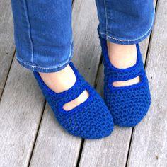 Crocheted Mary Jane House Slippers in Blue, Women's, House Shoes, Slipper Socks. $22.50, via Etsy.