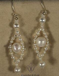 Rhomb pearl earrings E884 by Fleur-de-Irk.deviantart.com