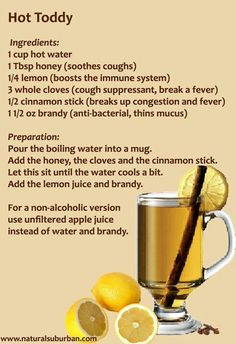 Natural cold remedy - use apple juice base. Want to remember that cloves and cinn sticks help w fever.