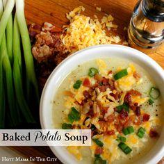 Baked Potato Soup recipe with crock pot instructions.