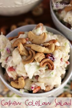 Cashew Coleslaw Salad ~ Creamy Coleslaw Loaded with Cauliflower, Cashews and Bacos!