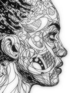 zentangl inspir, figur project, pattern, middle school art, line art doodles, experimental art, zentangle portraits, kris trappeniers, art projects