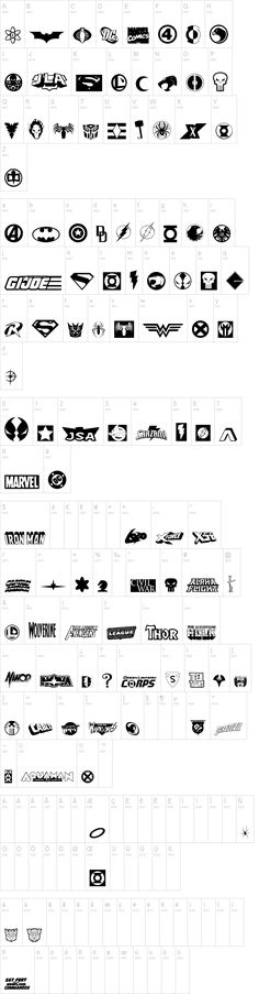 FREE Hall of Heroes Font from DaFont.  Superhero logos & more.  Can enlarge & print out for kids to color or use to create projects.