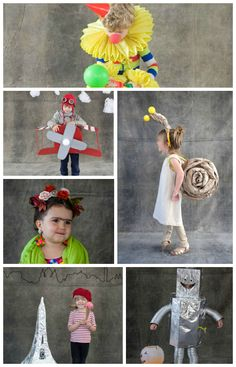 Lots of good costume ideas: Snail, clown, Frida Kahlo, pilot in a plane, robot, French lady #DIY #Halloween #Kids