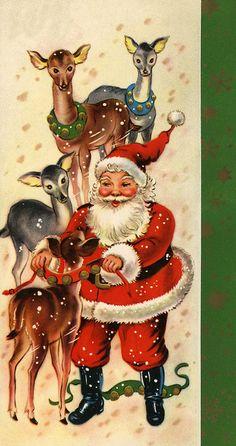 Vintage Christmas Card Santa and his reindeer, getting pretty