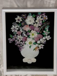 HANDMADE BEAUTIFUL SEASHELL SHADOW BOX PURPLE & WHITE FLOWERS MADE FROM SHELLS | eBay