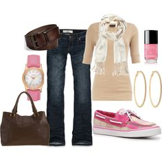 fall.. pink sperri, weekend wear, cloth, style, boat shoes, outfit, flat shoe, pink shoes, closet