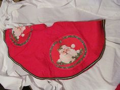 Vintage Christmas Tree Skirt ~ Red Felt with Santa Claus Trimmed in Green Felt and Gold Gilt