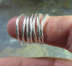 Skinny stacking rings set of 7 organic texture and shape by LavenderCottage on Etsy