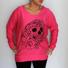 Pink Tunic Sweater with Sugar Skull Hand Screen by MadLoveShop, $38.00