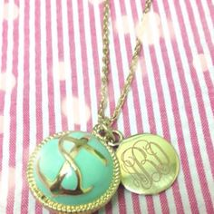 Monogrammed Long Anchor Necklace in Mint
