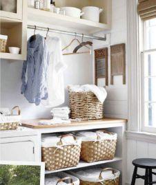 laundry with plenty of baskets for storage