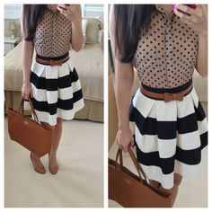 Brown polka dot blouse with a black and white striped skirt. (All neutral mixed prints.)