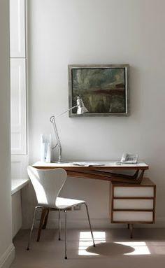 white modern desk
