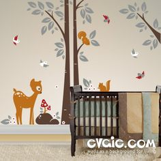 Squirrels On the Tree with Baby Deer and Birds – Children Wall Decals – evgie