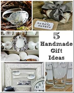 Five Handmade Gift Ideas - Stamped Silver Spoon Bracelet, Felted Soap, Picture Frame Memory Wreath, Spooning Engraved Artwork, Etched Monogrammed Glasses . . .